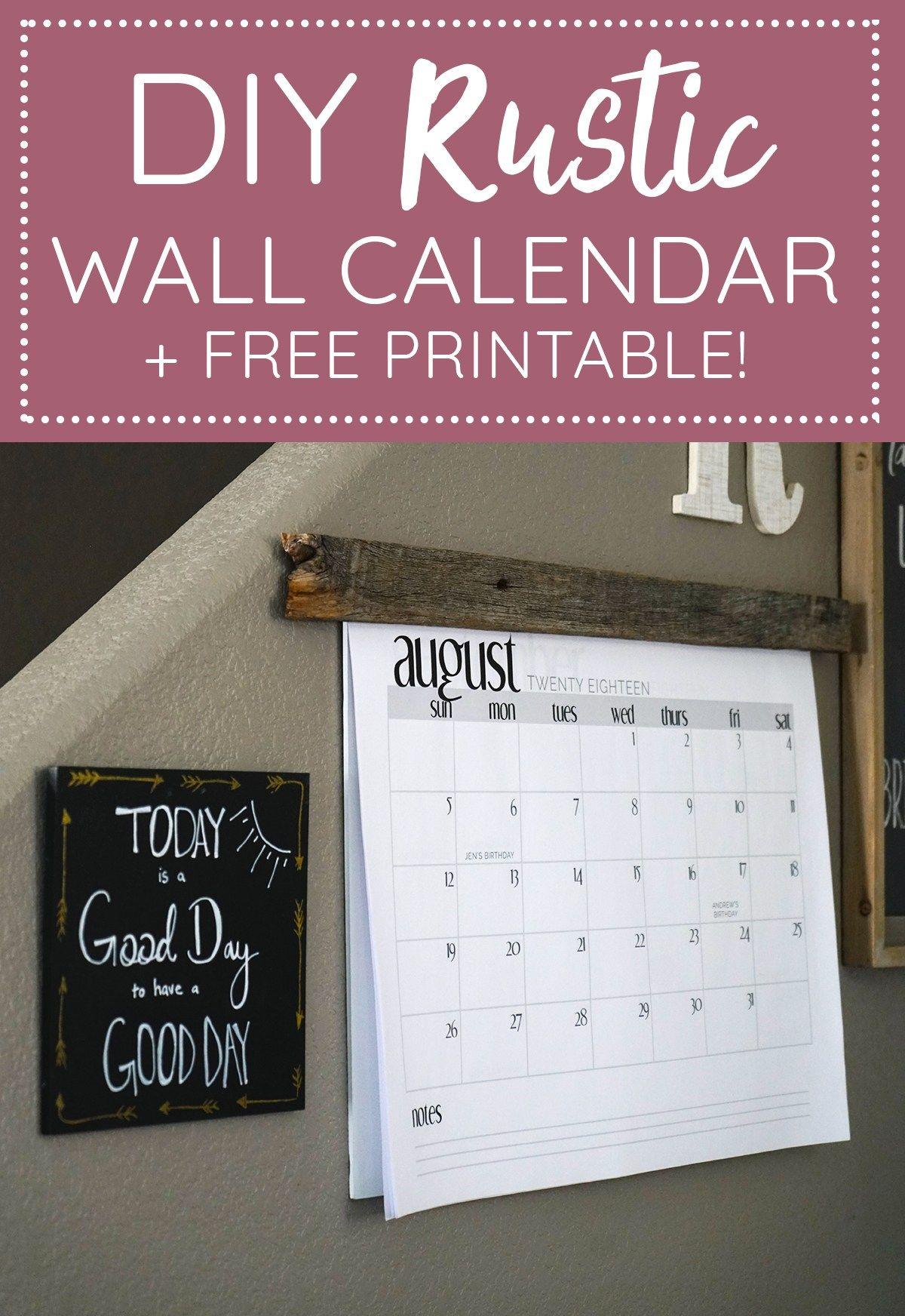Diy Wall Calendar With Barnwood Free Printable Family Organization Wall Diy Calendar Wall Family Calendar Wall