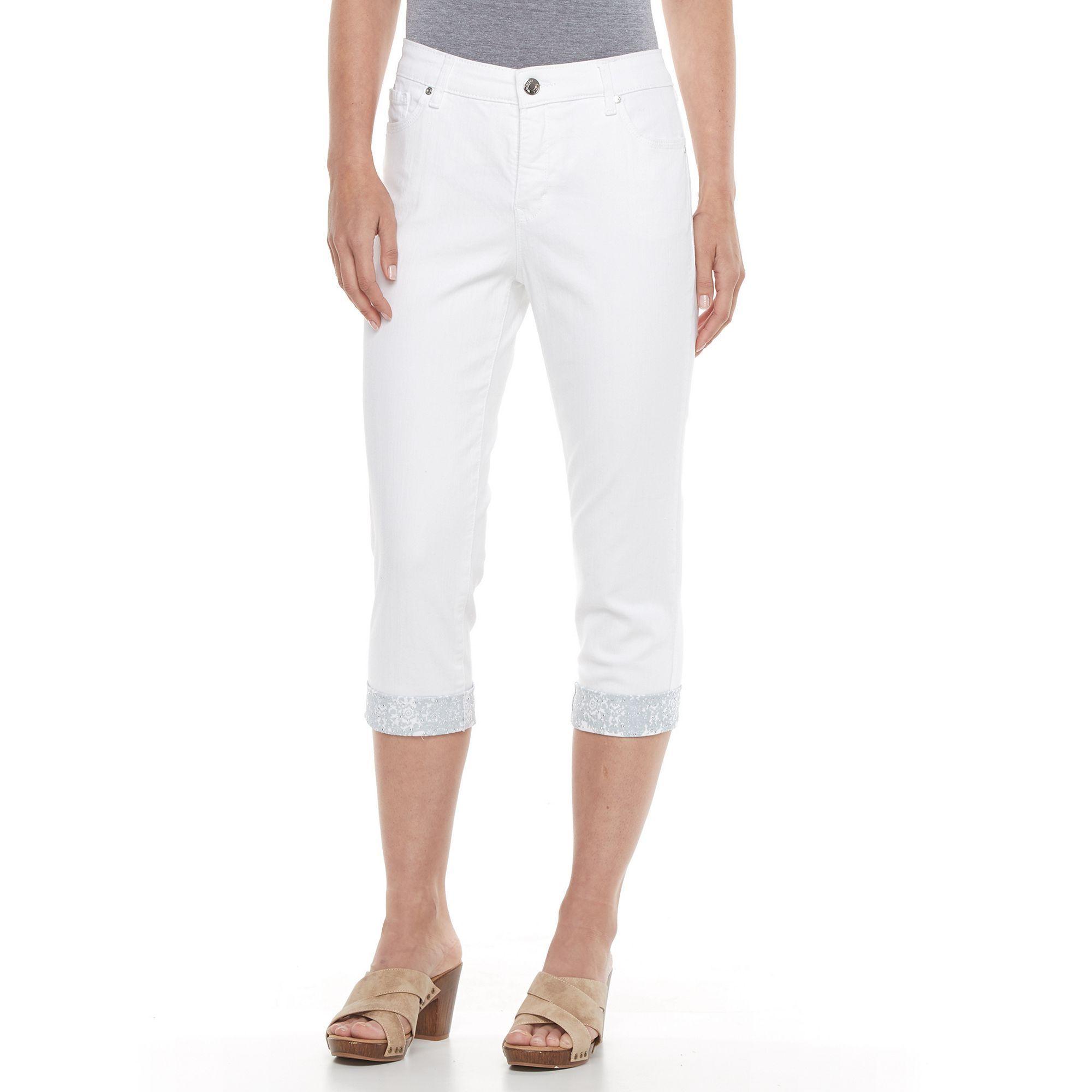 dbe54c175fe Women's Gloria Vanderbilt Jordyn Embellished Capri Jeans, Size: 12, White