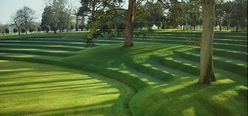 Wilkie's grass terraces at Heveningham Hall Hillside