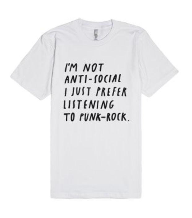 Punk-Rock Antisocial-Unisex White T-Shirt