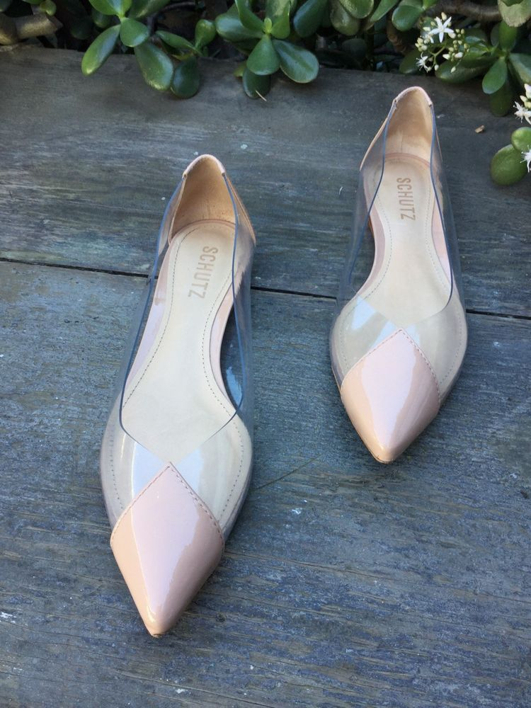 e7b1b10b1d67a9 Schutz Clearly Pointy Flats Beige Patent Leather Women Sz 7B  fashion   clothing  shoes  accessories  womensshoes  flats (ebay link)