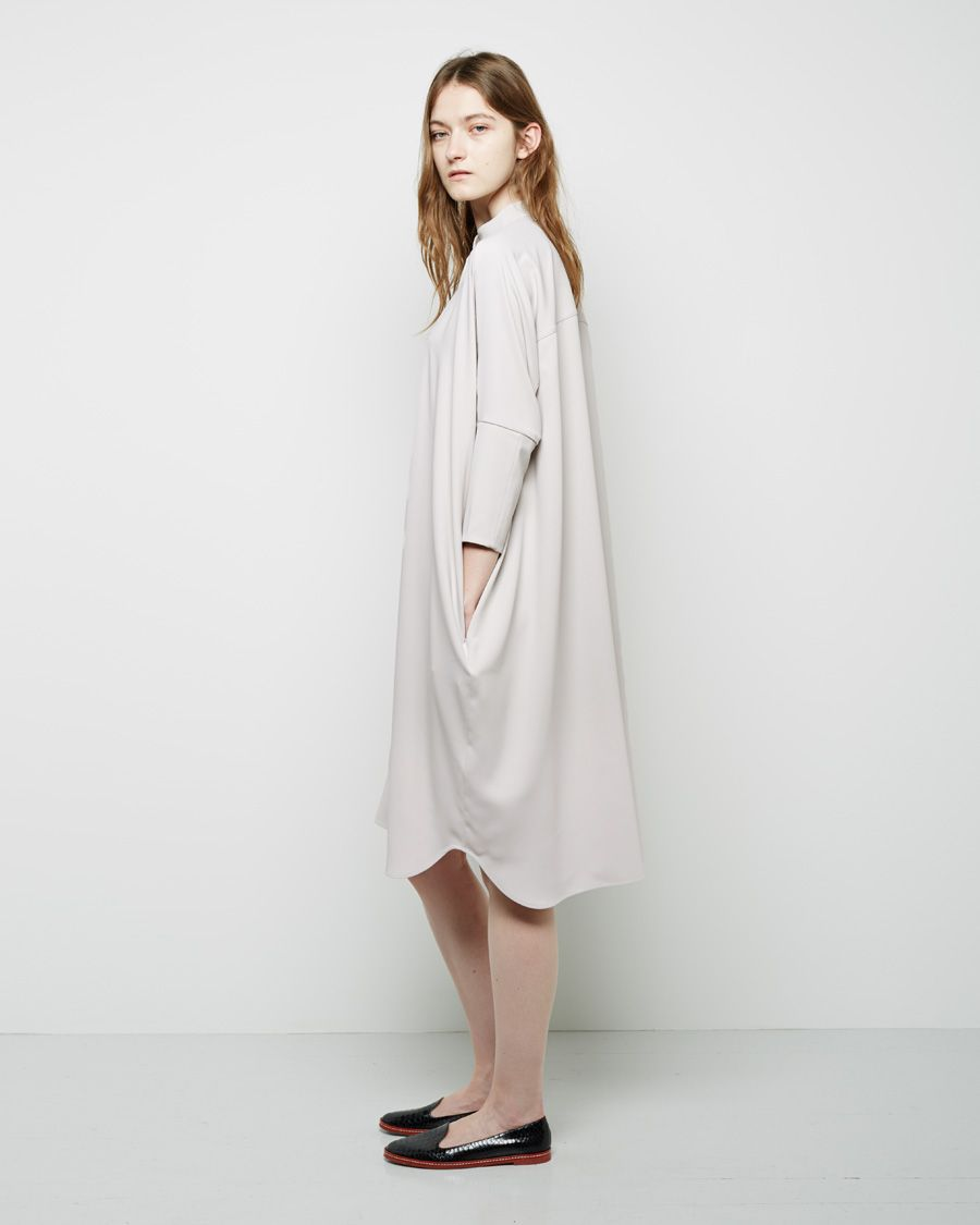 MM6 by Maison Martin Margiela / Collarless Shirtdress MM6 by Maison Martin Margiela / Leather Flat #pf14