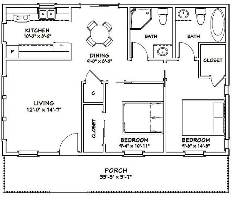 3624 House 2Bedroom 2Bath 864 sq ft PDF Floor Plan