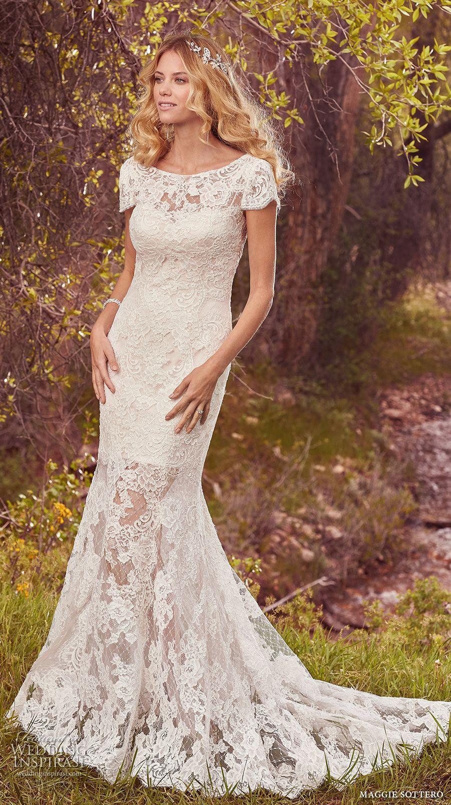 Maggie sottero spring bridal short sleeves boat neckline full