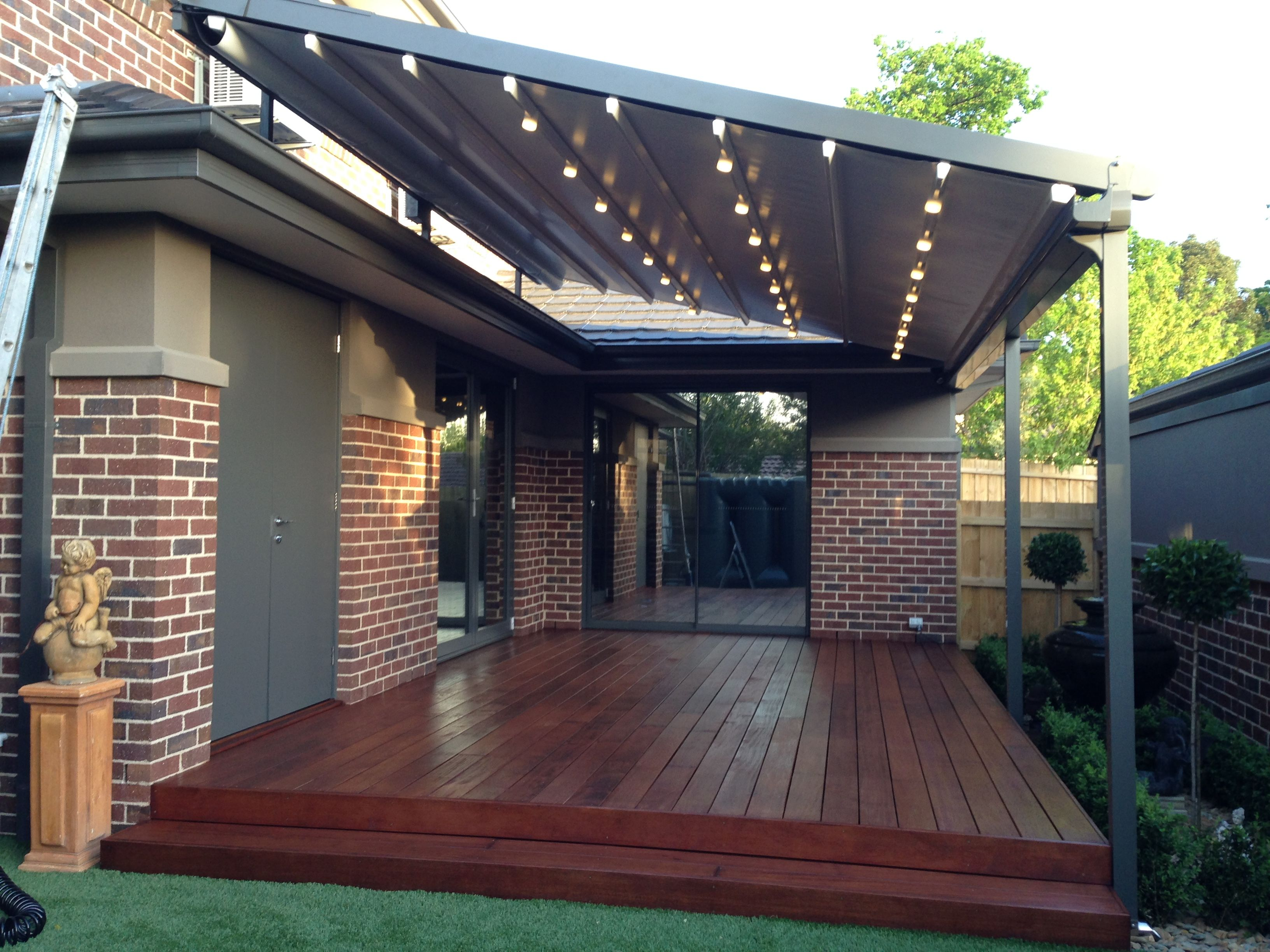 Retractable Pergola Awning Best Quality Design Gray Stained Finish Tough  Metal Posts Crossbeams Rafters Roof Cover