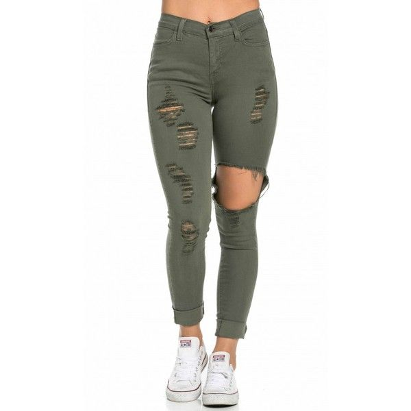 High Waisted Distressed Skinny Jeans in Olive ($40) ❤ liked on ...