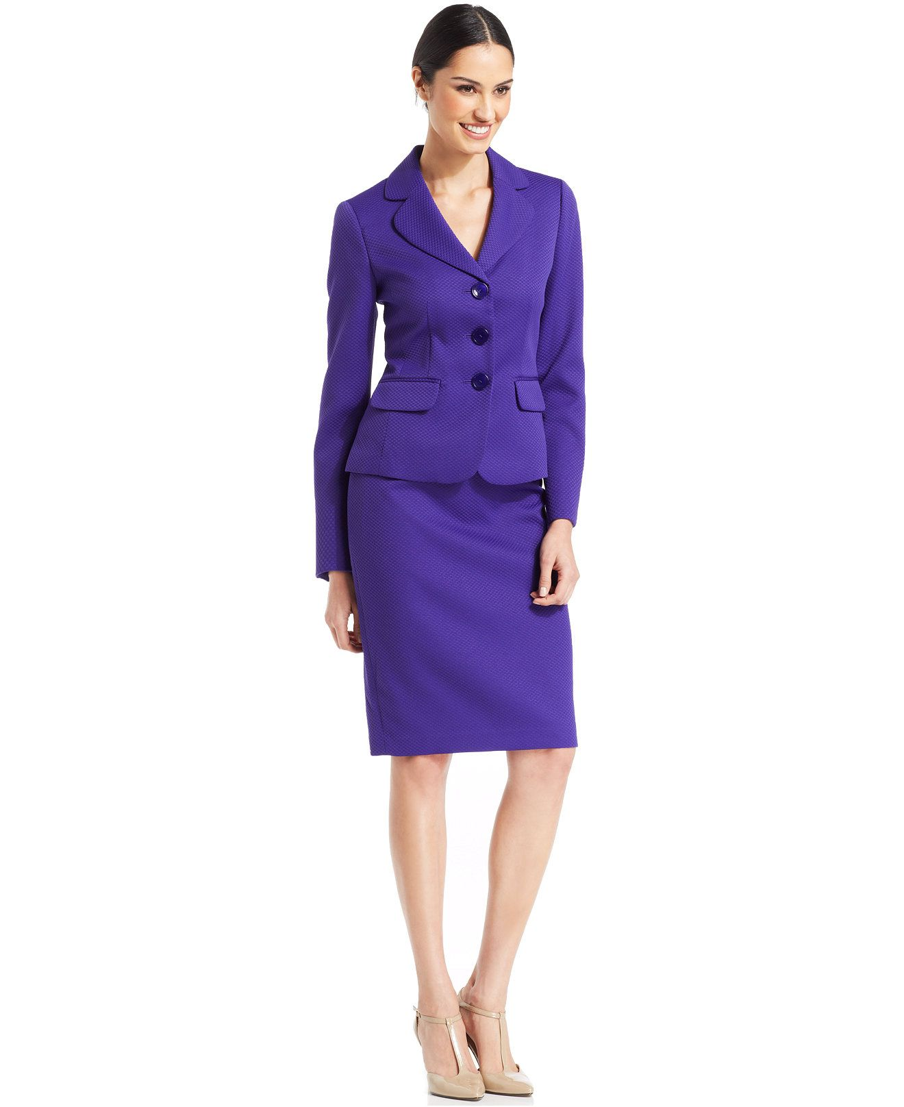 Le Suit Textured Three-Button Skirt Suit - Wear to Work - Women ...