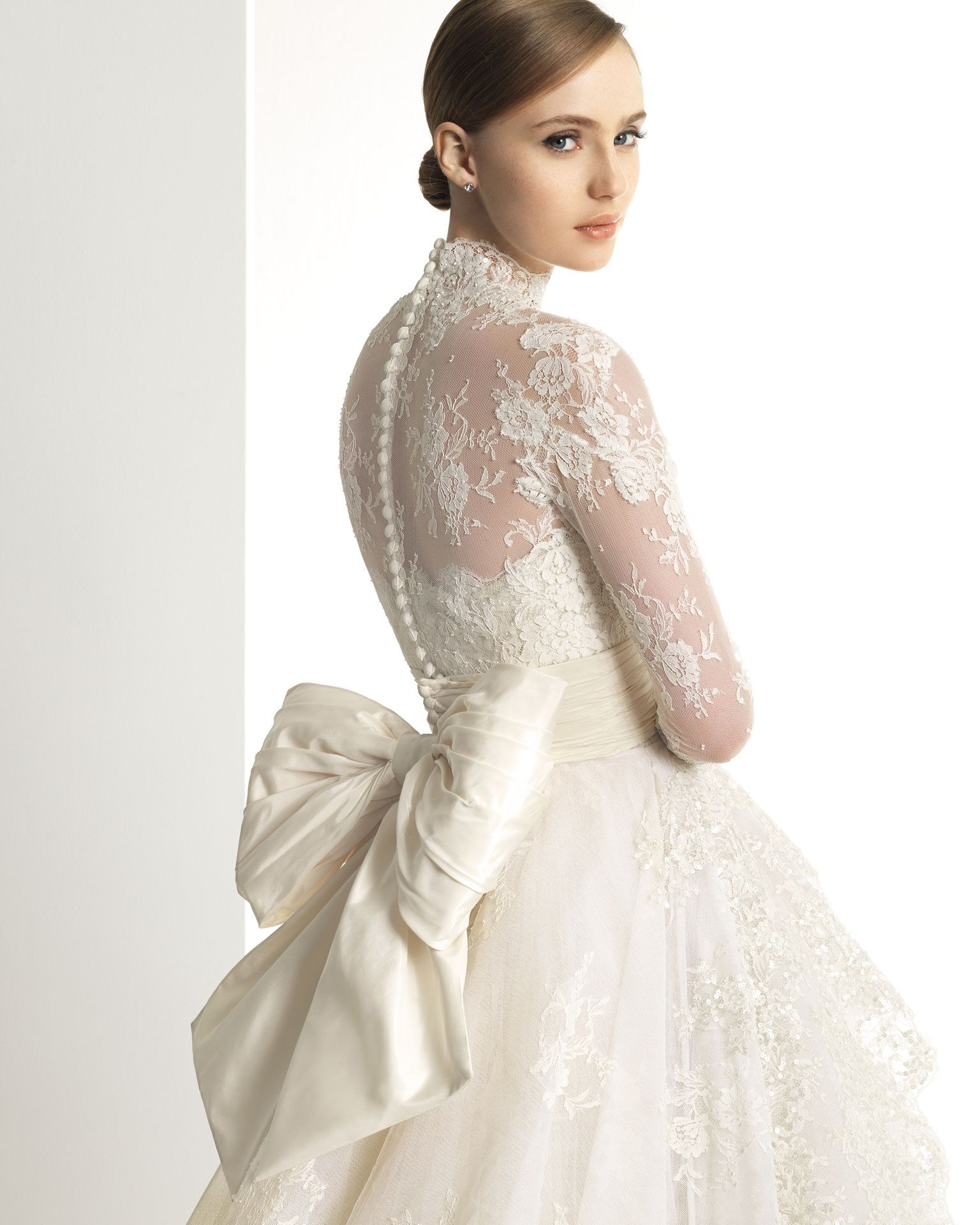 Mock Neck Long Sleeves Bridal Gowns Wedding Dresses