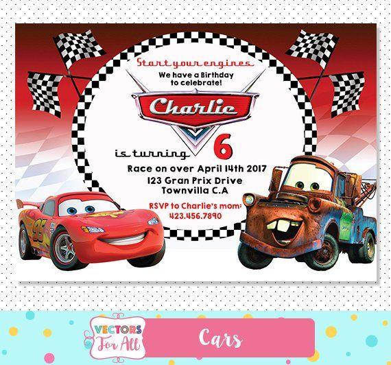Disney Cars Invitation Disney Cars Party Disney Cars Invite