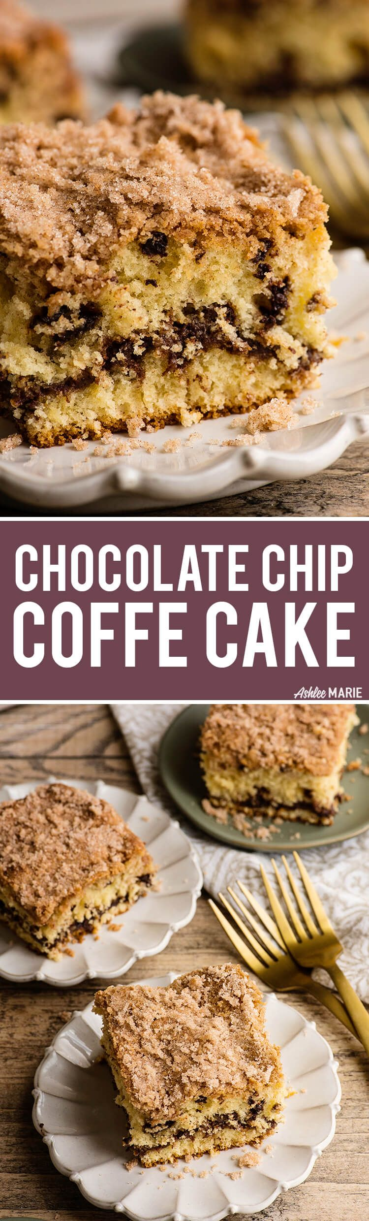 This Chocolate Chip Coffee Cake is made with sour cream to