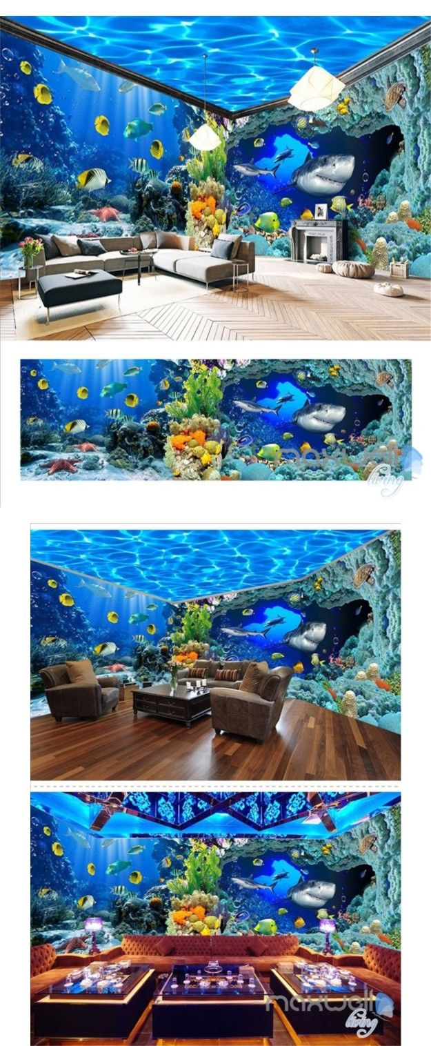 Aquarium Living Room Decor: Underwater World Aquarium Theme Space Entire Room