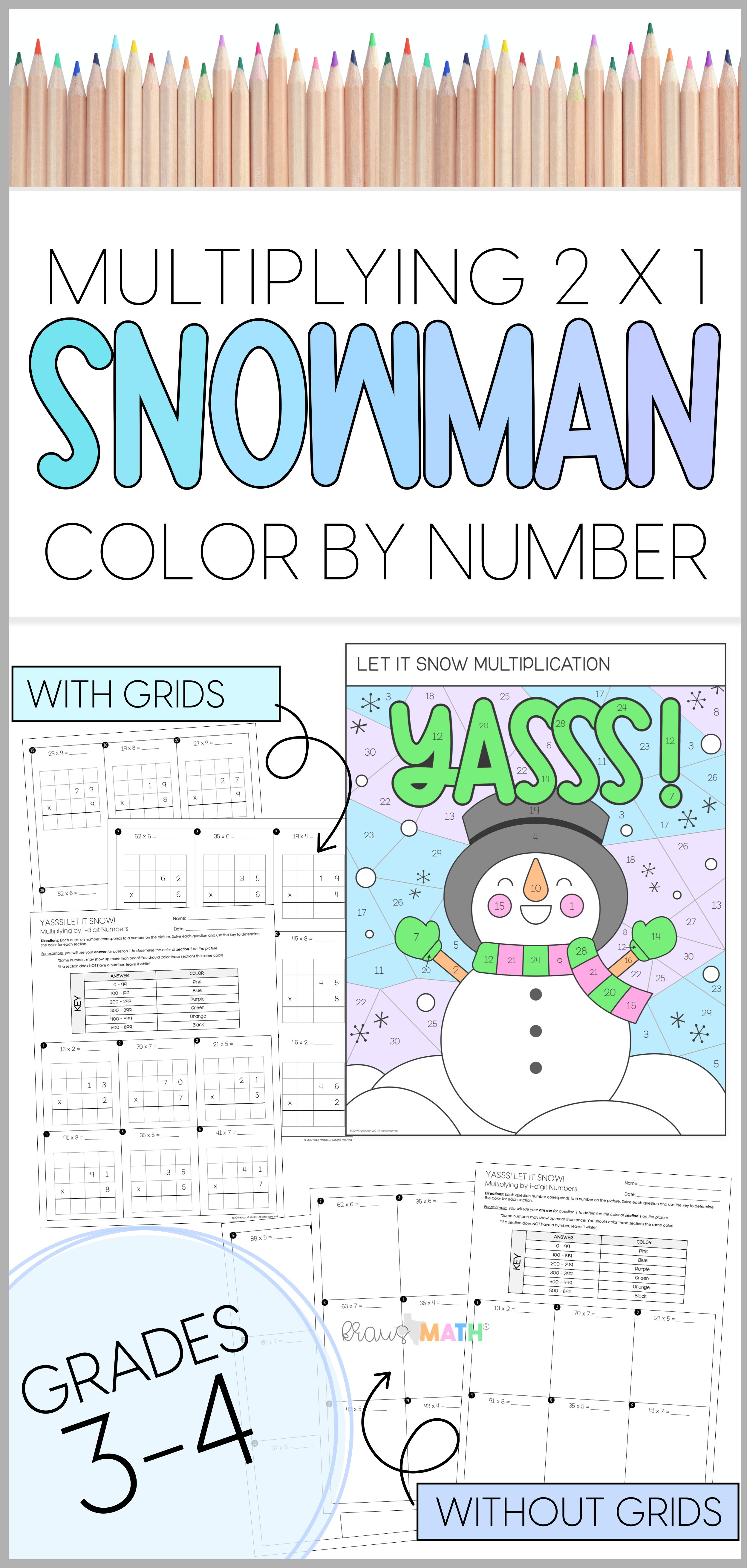 Snowman Multiplication 2x1 Color By Number Teks 3 4g