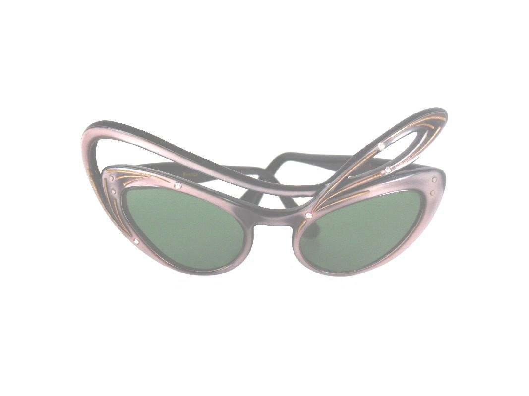 e94670b430d7 Vintage Oleg Cassini St. Tropez Cat Eye Bow Frame Sunglasses Made in France