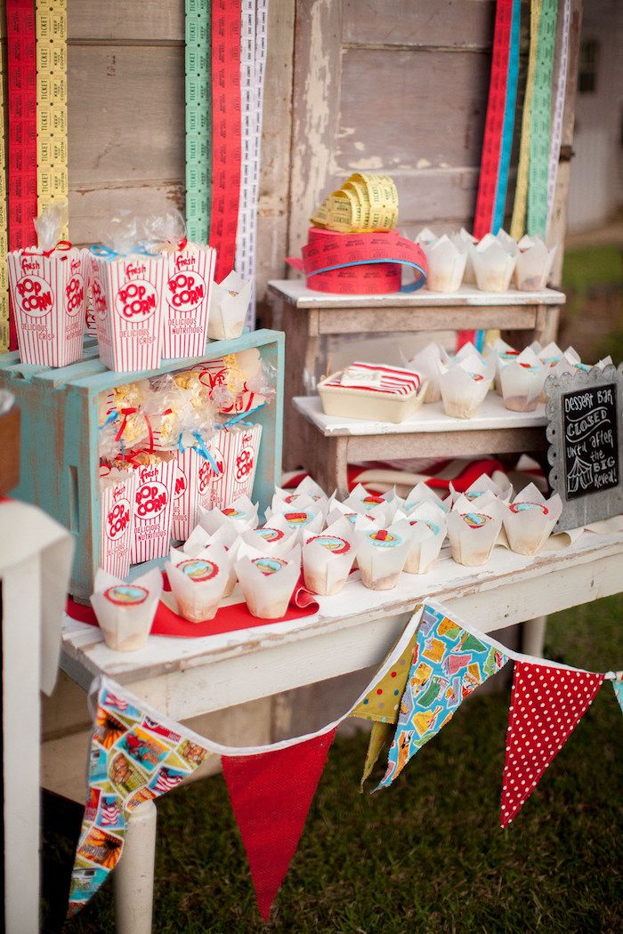Concession Table With Pennant Banner Perfectly Proportioned Set Up From  Carnival Themed Gender Reveal Party At