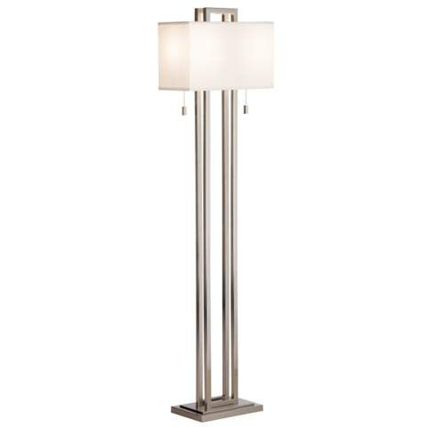 Possini Euro Design Double Tier Brushed Nickel Floor Lamp 51639