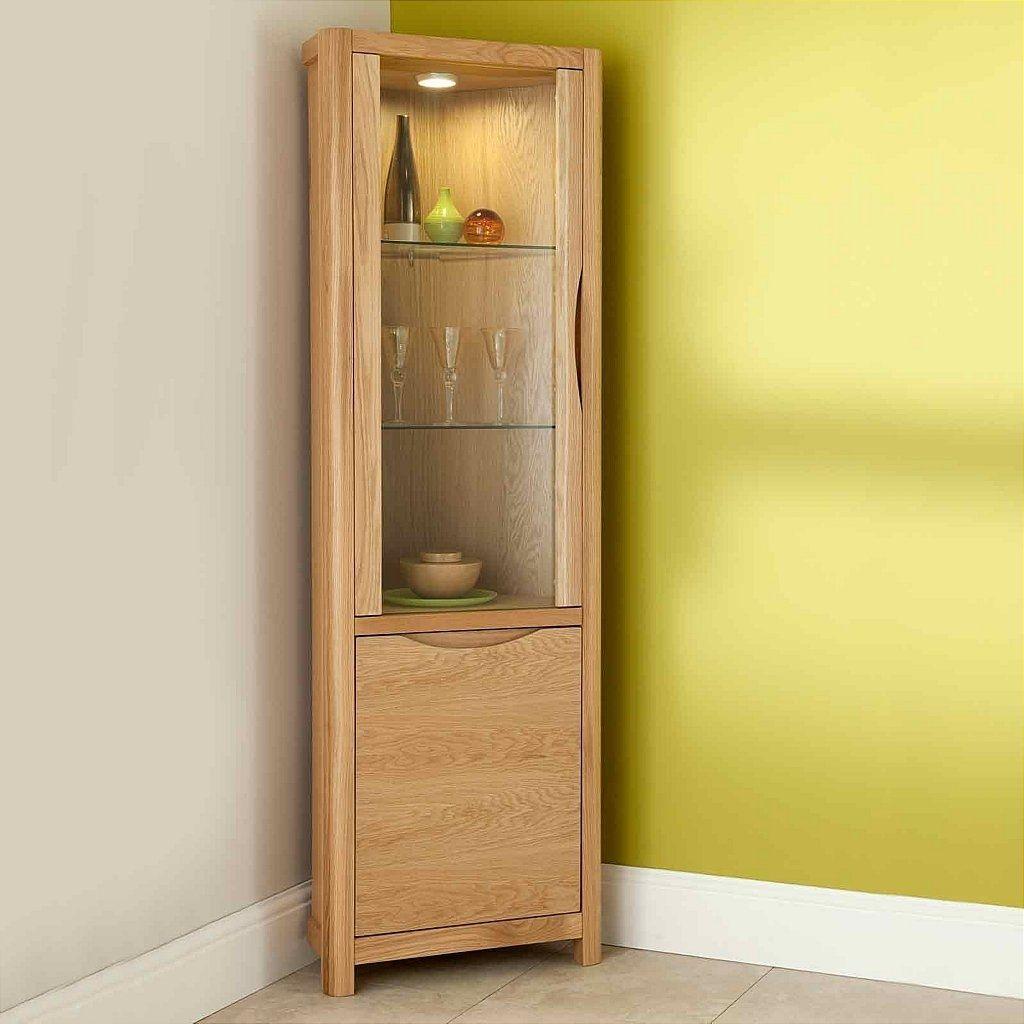 Double Gl Door Beech Display Cabinet Oak Corner