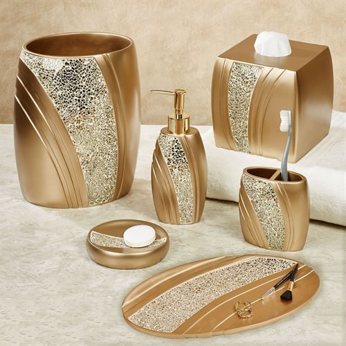 Glamour Mosaic Champagne Gold Bath Accessories | Gold ...