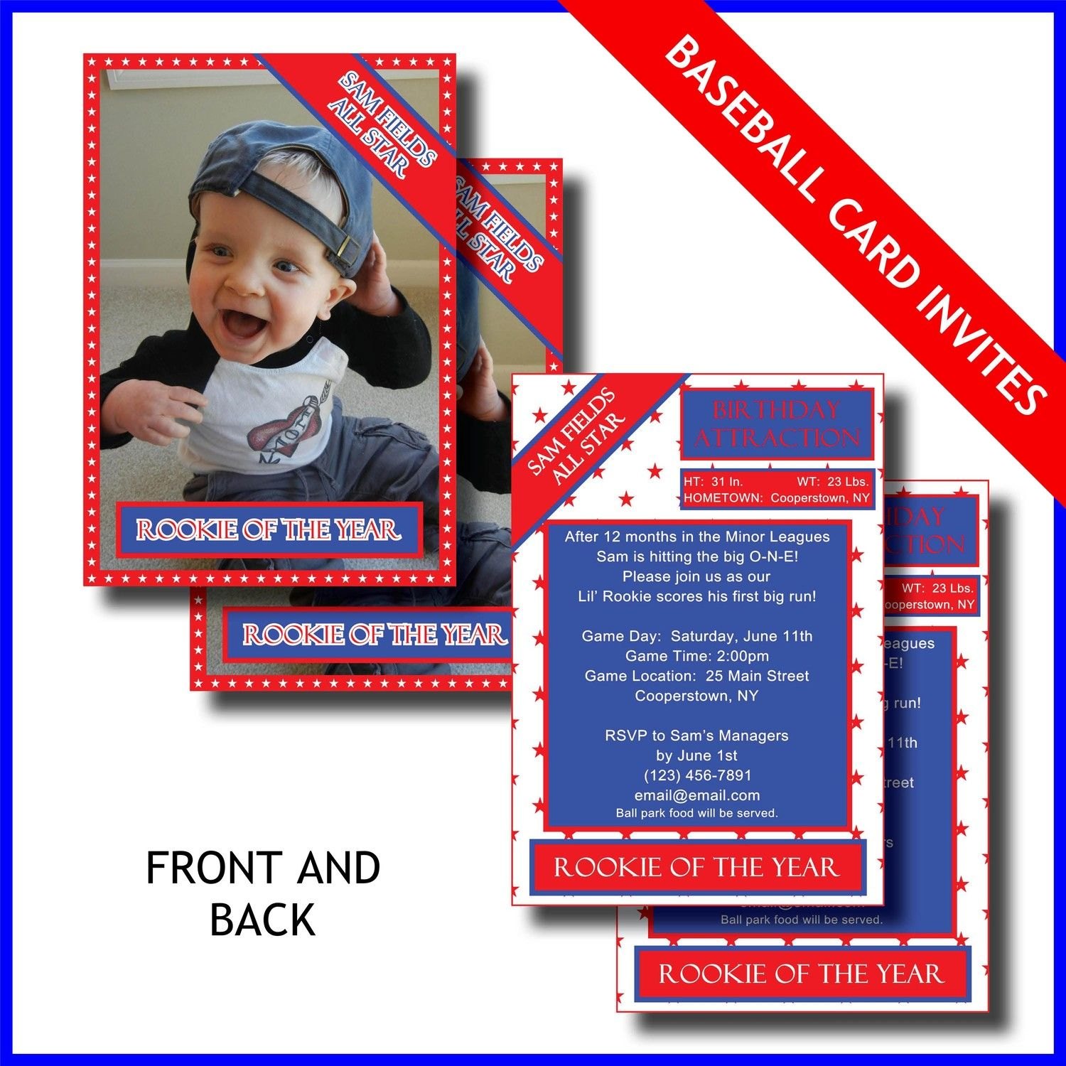 1st Birthday Invitation Card - Lil Rookie Baseball Card - Printable ...