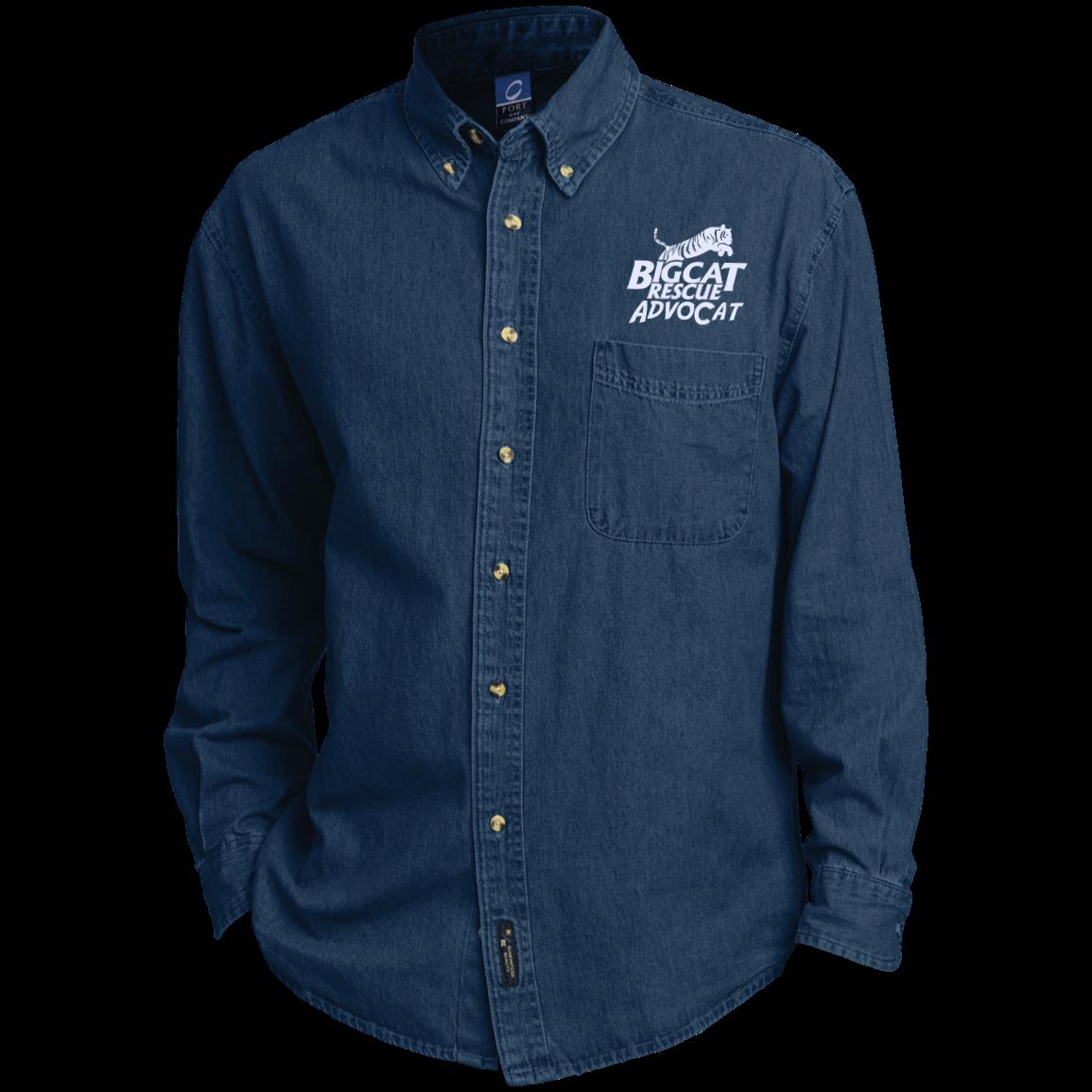 Logo AdvoCat Embroidered Long Sleeve Denim Shirt Long