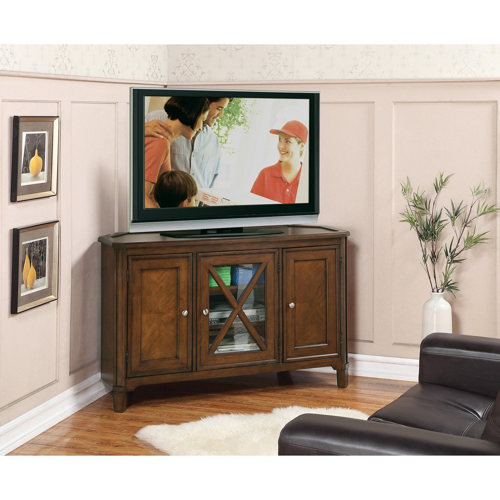 Riverside Inglewood Corner Tv Console  Medium Walnut  $79875 New Living Room Corner Furniture Designs Decorating Inspiration