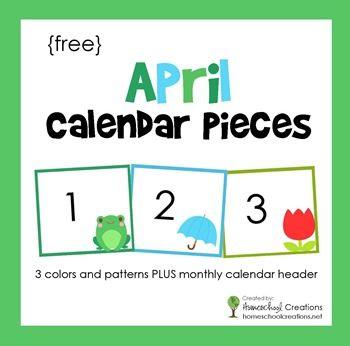 April Pocket Chart Calendar Cards Free Printable