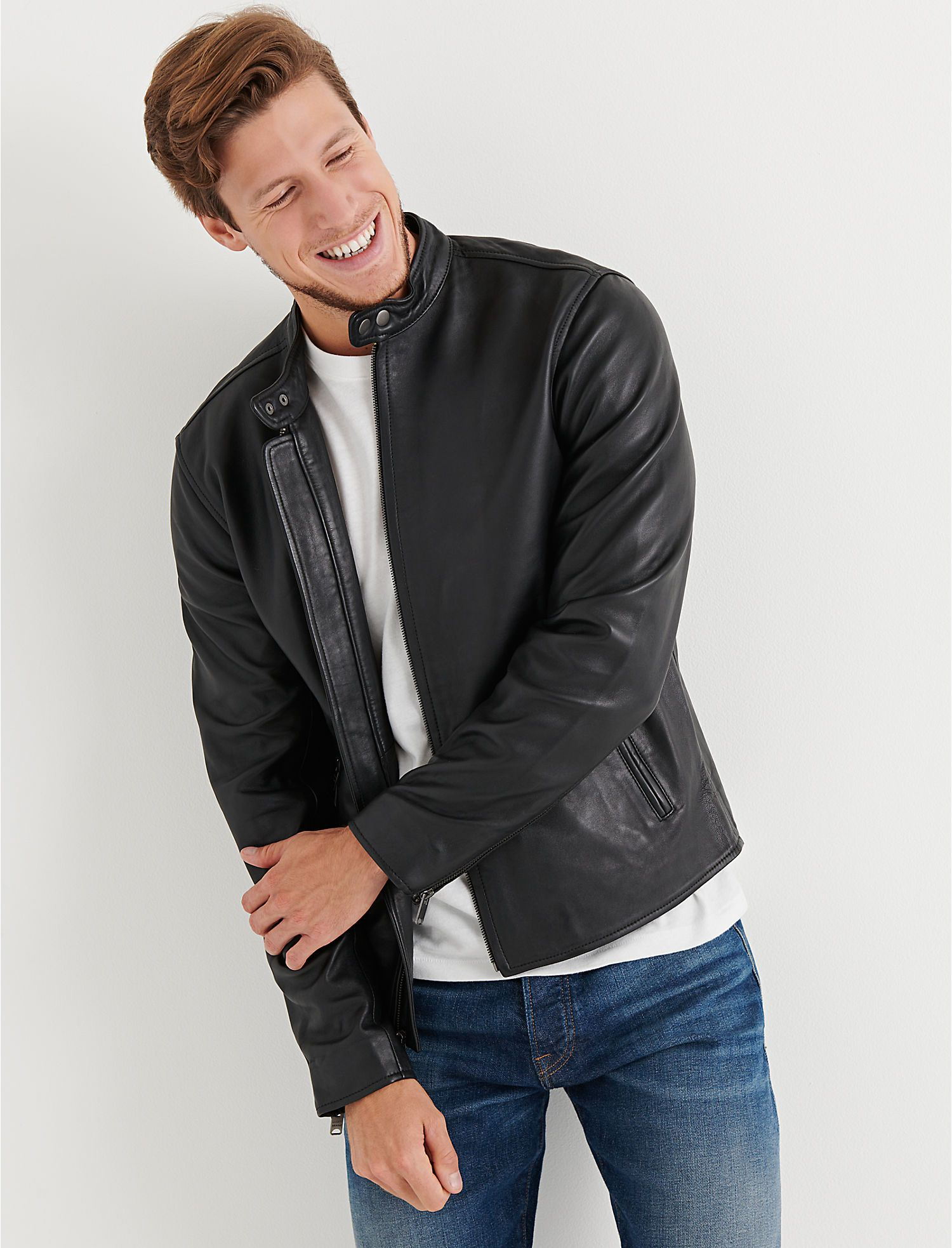 Clean leather bonneville lucky brand leather jacket