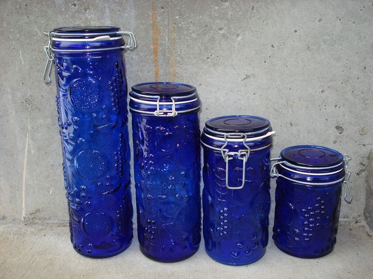 Vintage Cobalt Blue Embossed Glass Wire Bales Canister Set Blue Canister Set Blue Glassware Blue Glass