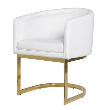 White Pu Dining Chair Gold Metal Frame