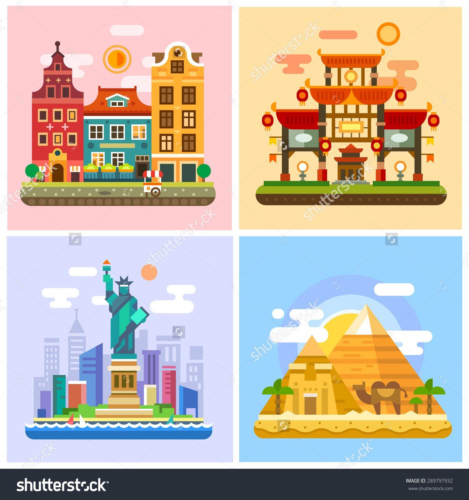 前往不同国家的首都 日落走在欧洲 日本 埃及的沙漠 在纽约自由女神像