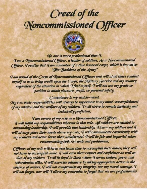 NCO Creed Us army infantry, Army values, Airborne army