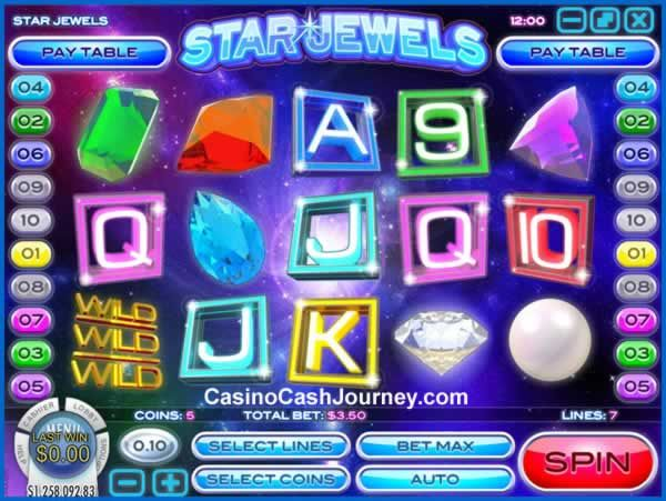 Star Jewels is a 10-line and 5-reel video slot that's powered by Rival. It features a cosmic theme with some very special Wilds that stick to their position on reels 1 and 3 every time they appear and expand onto the entire reel! Plus, they also award a free re-spins for even more wins! More this way..  http://blog.casinocashjourney.com/2015/10/20/star-jewels-slot-by-rival-gaming/