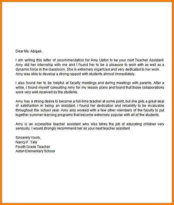 teacher recommendation letter assistant application for preschool - academic recommendation letter