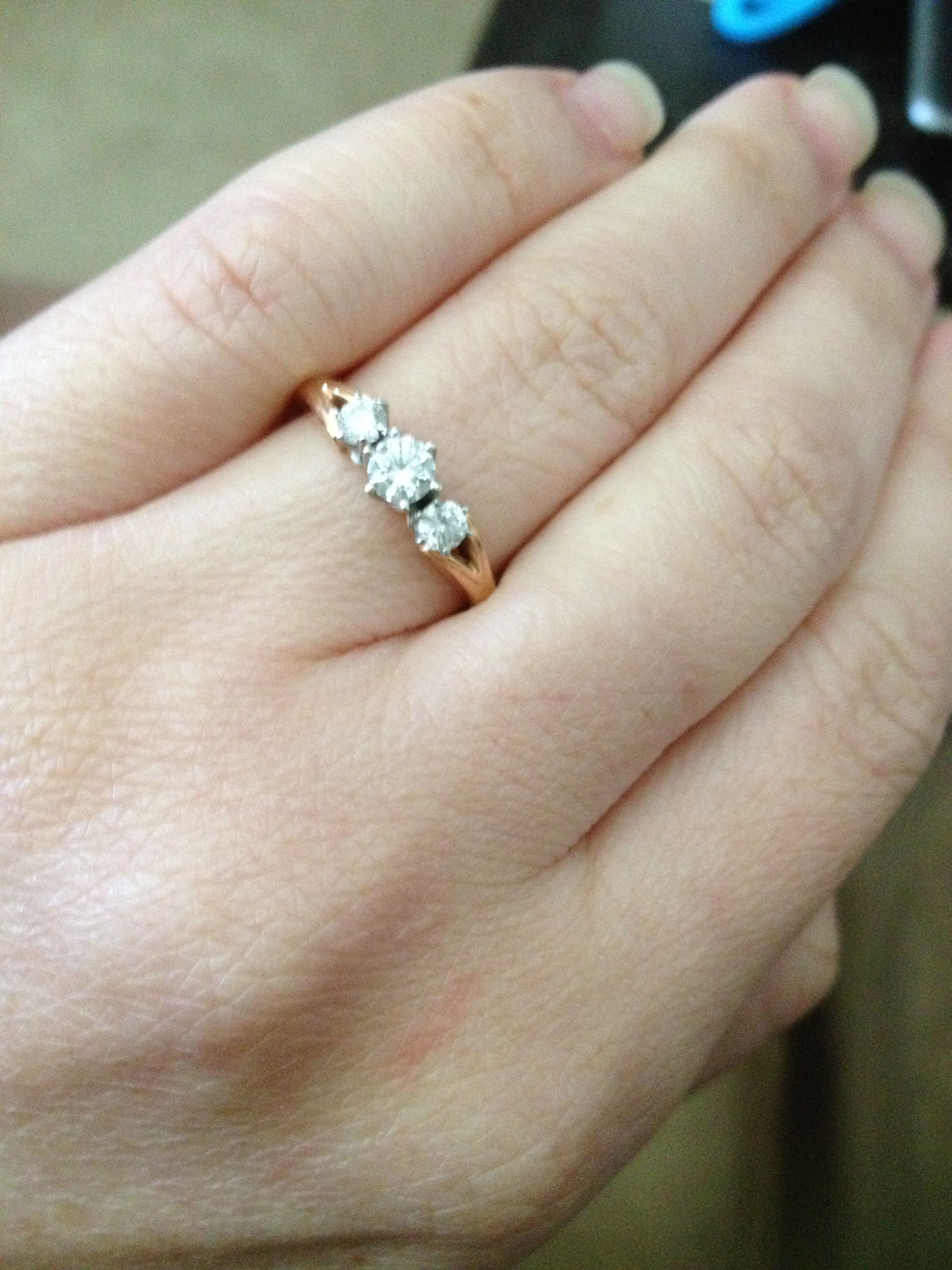 Rosegold 3 Diamonds Engagement Ring Perfect For Small Hands