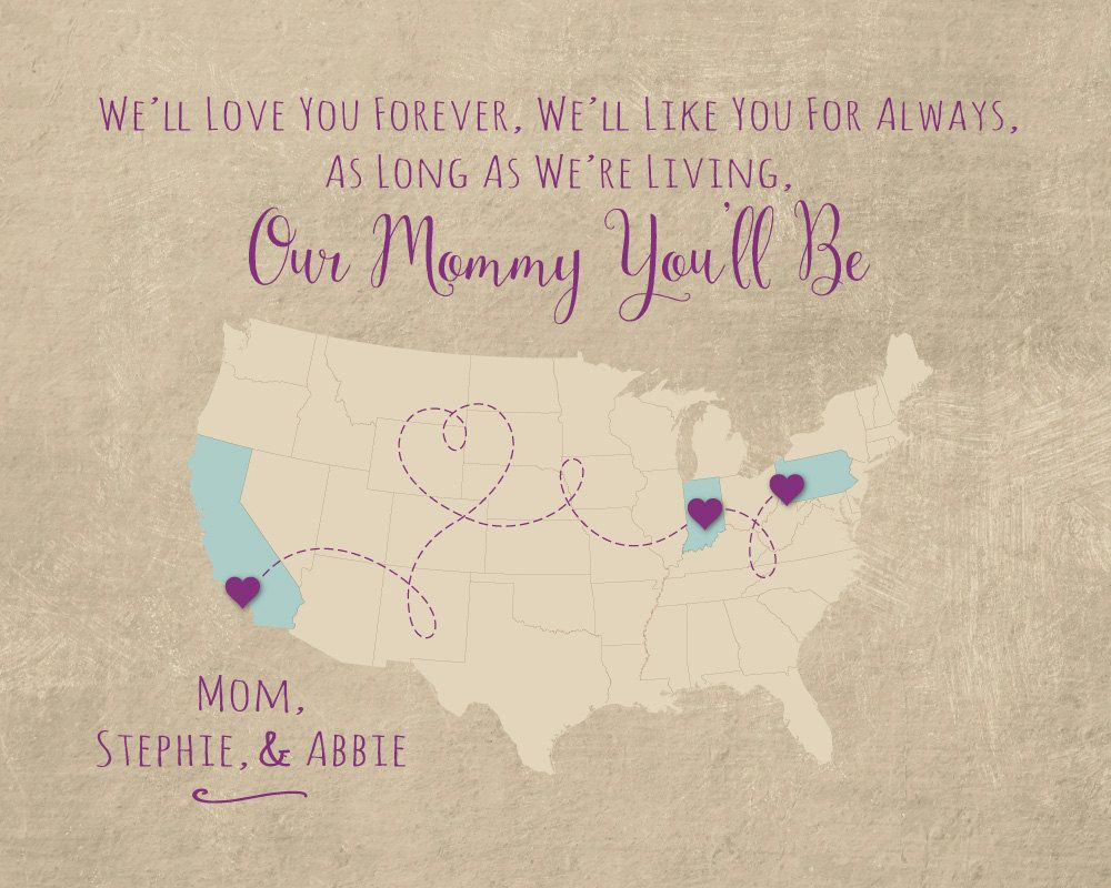 Long Distance Gift for Mom, Custom Mothers Day Gift, Mommy