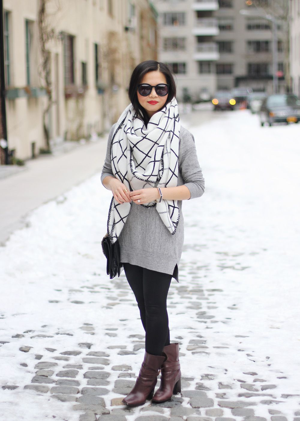 Oversized Scarf, grey tunic sweater, black leggings, brown booties ...