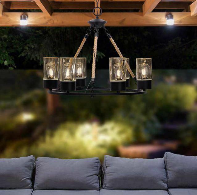 Outdoor Solar Gazebo Chandelier Canopy Led Light Bulb Lamp Hanging
