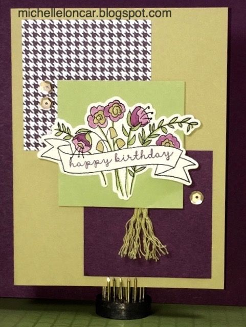 Show and Tell, with Michelle: Color Dare #204 ~ Eggplant, Flaxen, Sweet Leaf   Colonial White