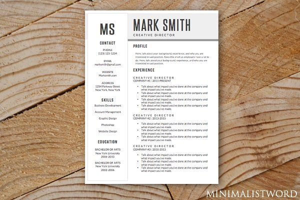 Minimal Resume Template MS Word 2018 Pinterest Template - microsoft resume templates 2018