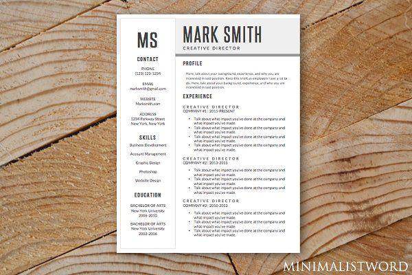 Minimal Resume Template MS Word 2018 Pinterest Template - microsoft resume templates 2018