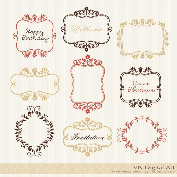 Classic Leaf Digital Frames Labels  Instant by VNdigitalart, $3.50