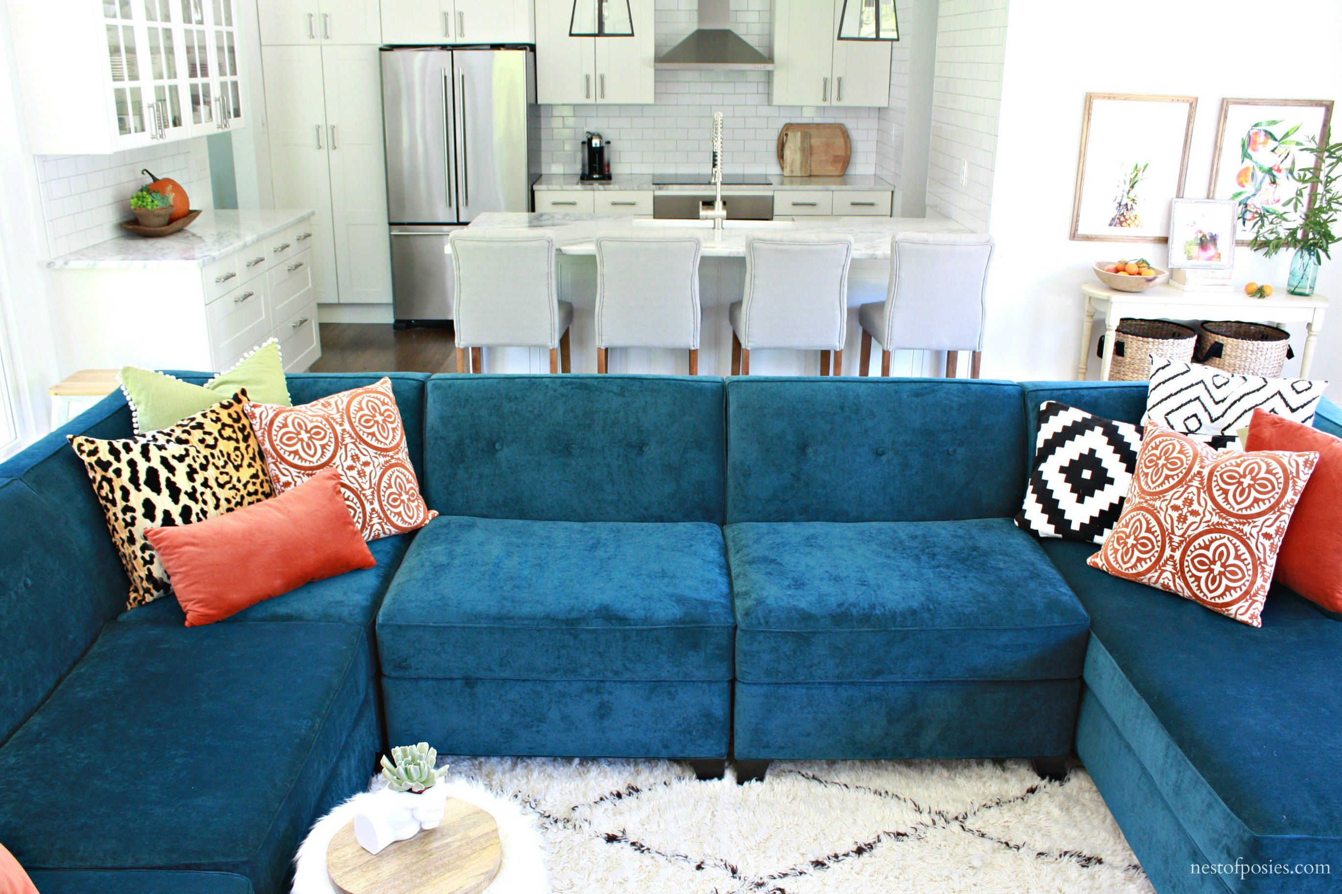 Macy s Harper sectional in teal