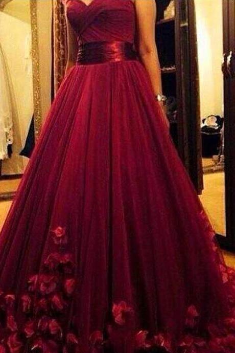 Burgundy Maroon Scarlet Formal Dress Prom Dress 3D Flowers Handmade Flowers Tulle Prom Dress