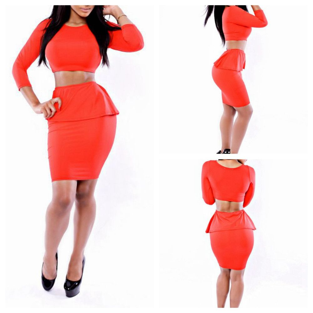 RED BODYCON CELEBRITY RUFFLES BANDAGE DRESSES 2 PIECE AUTUMN NEW ...