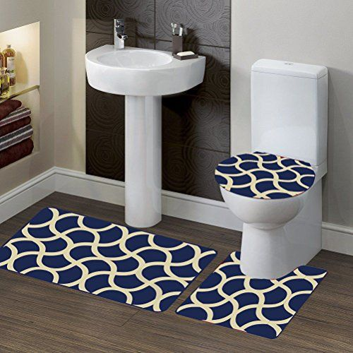 Gorgeoushomelinen 7 2 New Style Geometric Erfly 3pc Bathroom Set Bath Mat Contour