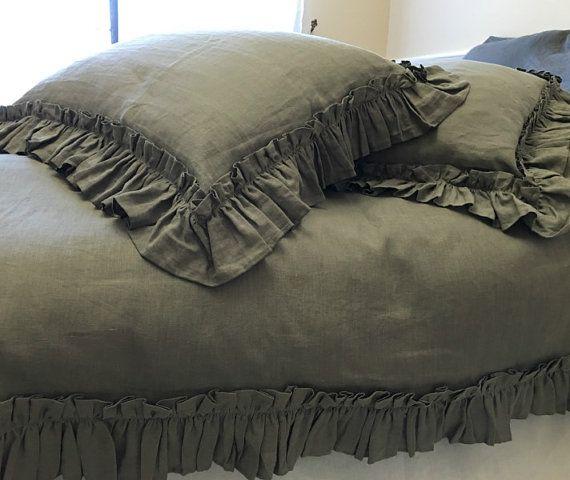 Medium Grey Ruffled Duvet Cover Handmade With Vintage Ruffle Style Linen Bedding Shabby Chic Beddin Ruffle Duvet Cover Linen Duvet Covers Shabby Chic Bedding