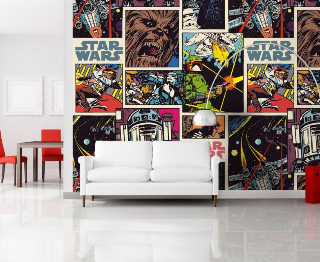 Star Wars Collage Wallpaper Mural Mural Wallpaper Kids Wall Murals Star Wars Wall Mural