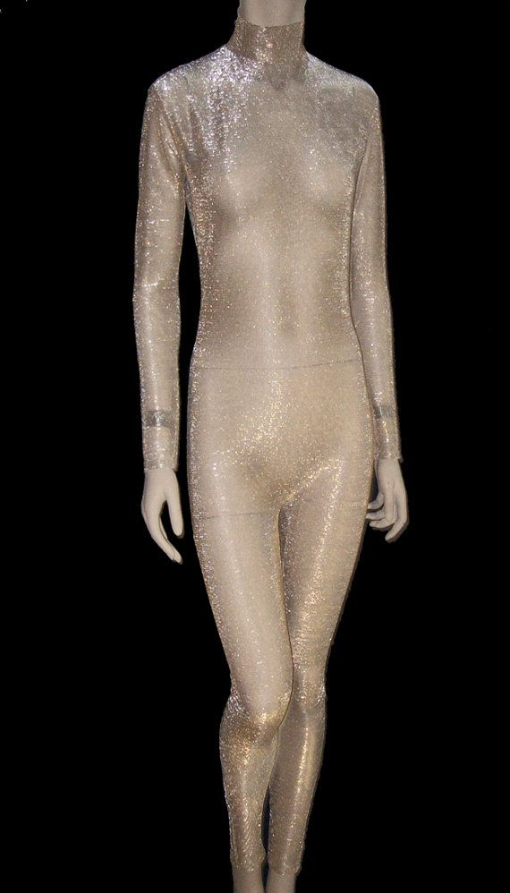 Sheer Nude Mesh with Gold & Silver Metallic Unitard Catsuit Bodysuit - Small