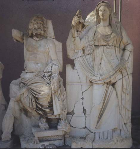 Poseidon and demeter statues in the agora from ancient city of smyrna in izmir in turkey - Poseidon statue greece ...