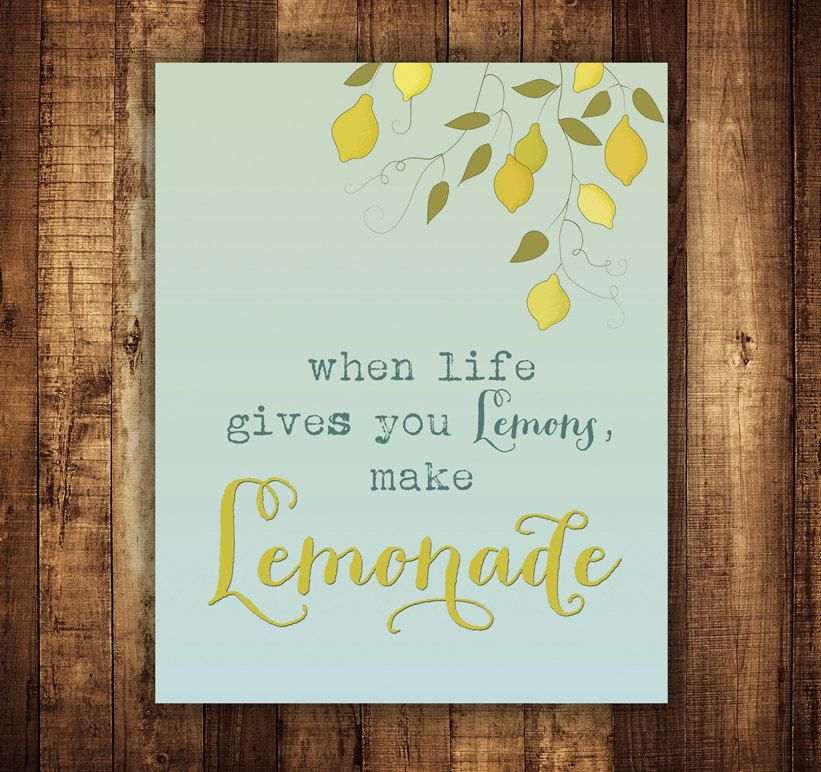 Items similar to when life gives you lemons make lemonade inspirational art print typography poster 8x10 quote poster wall decor premium print on etsy