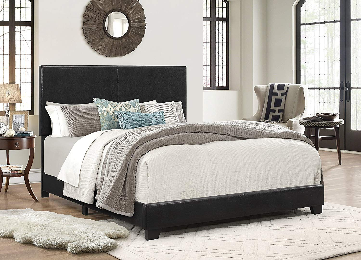 Best Amazon Com Crown Mark Upholstered Panel Bed In Black 640 x 480